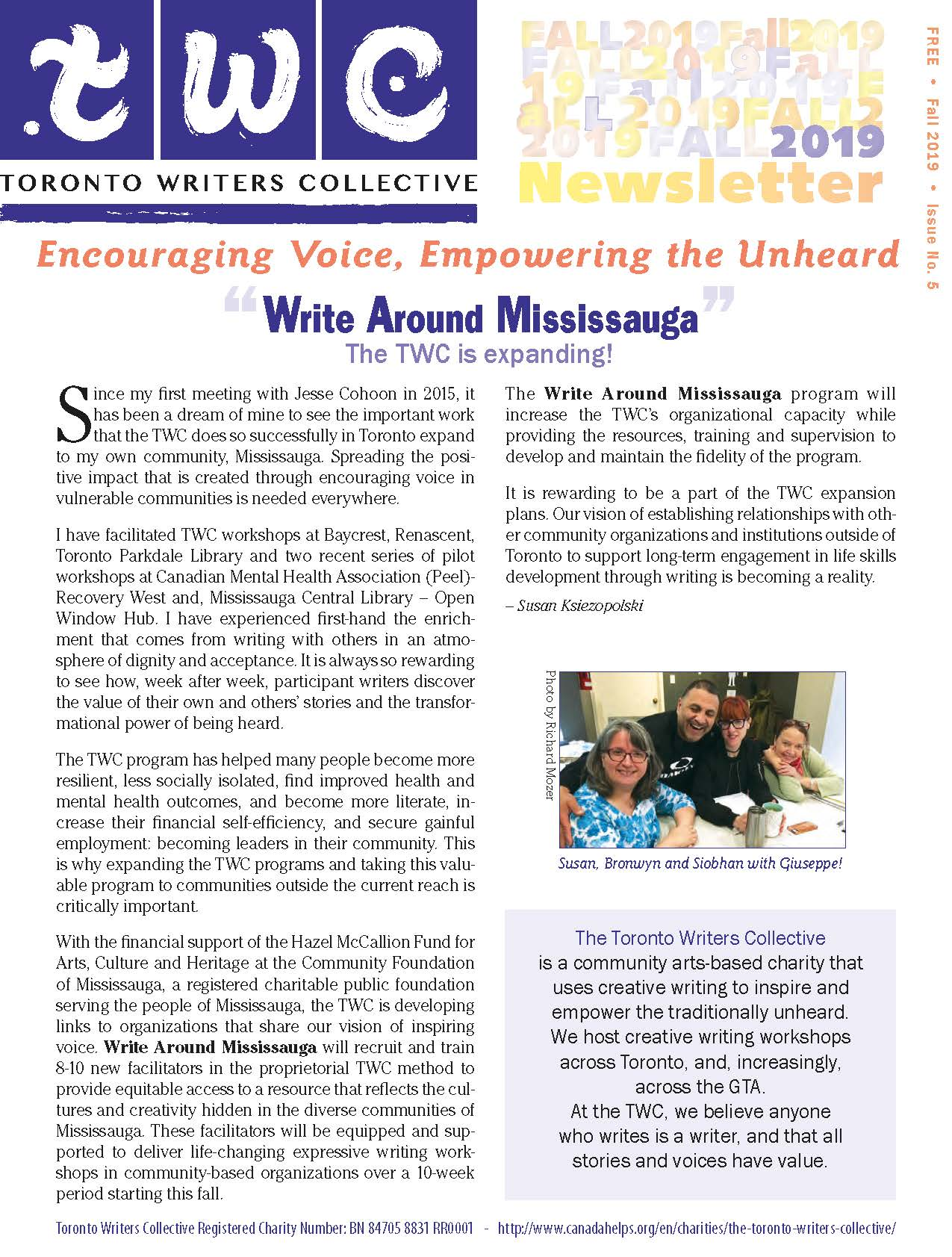 TWC Newsletter Fall 2019 Front Page